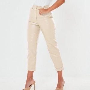 Missguided faux leather cigarette trousers